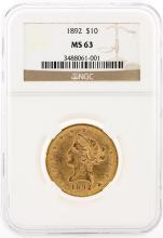 1892 NGC MS63 $10 Liberty Head Eagle Gold Coin