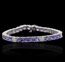 14KT White Gold 14.28ctw Tanzanite and Diamond Bracelet