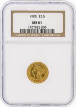1905 NGC MS61 $2.50 Liberty Head Quarter Eagle Gold Coin