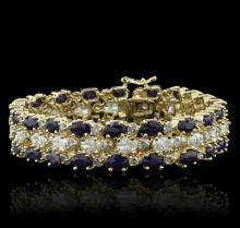 14KT Yellow Gold 22.40ctw Sapphire and Diamond Bracelet