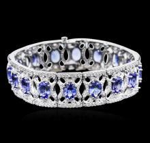 14KT White Gold 21.12ctw Tanzanite and Diamond Bracelet