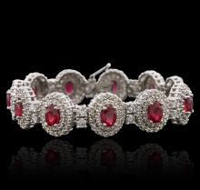 14KT White Gold 10.89ctw Ruby and Diamond Bracelet