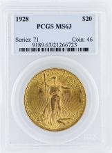 1928 PCGS MS63 $20 St. Gaudens Double Eagle Gold Coin