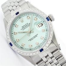 Rolex Stainless Steel Diamond and Sapphire DateJust Men's Watch