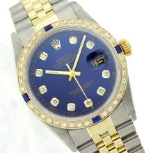 Rolex Two-Tone Diamond and Sapphire DateJust Men's Watch