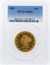 1882 PCGS MS62+ $10 Liberty Head Eagle Gold Coin