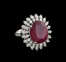 14KT White Gold 11.56ct Ruby and Diamond Ring