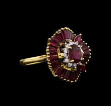 2.79ctw Ruby and Diamond Ring - 18KT Yellow Gold
