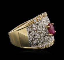 14KT Yellow Gold 1.02ct Ruby and White Topaz Ring