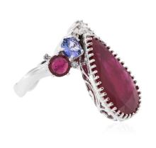 14KT White Gold 13.09ctw Ruby, Tanzanite and Diamond Ring