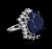14KT White Gold 21.69ct Sapphire and Diamond Ring