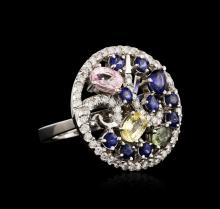 14KT White Gold 3.18ctw Sapphire and Diamond Ring
