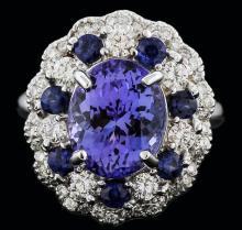 14KT White Gold 3.90ct Tanzanite, Sapphire and Diamond Ring