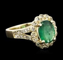 14KT Yellow Gold 1.89ct Emerald and Diamond Ring