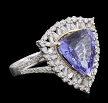 14KT Two-Tone Gold 6.65ct Tanzanite and Diamond Ring