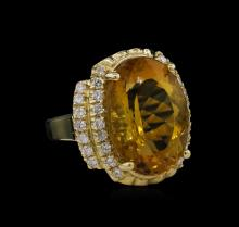 14KT Yellow Gold 11.17ct Citrine and Diamond Ring