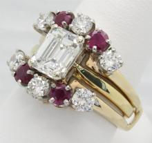 3.00ctw Diamond and Ruby Ring Set - 18KT Yellow Gold