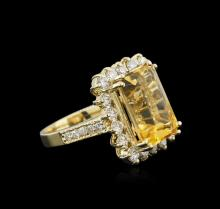 14KT Yellow Gold 7.10ct Citrine and Diamond Ring