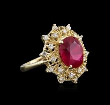 14KT Yellow Gold 5.37ct Ruby and Diamond Ring