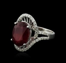 14KT White Gold 7.70ct Ruby and Diamond Ring