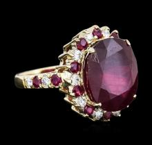 14KT Yellow Gold 15.25ctw Ruby and Diamond Ring