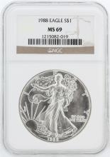 1988 NGC MS69 American Silver Eagle Dollar