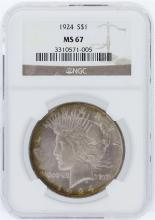 1924 NGC MS67 Peace Silver Dollar