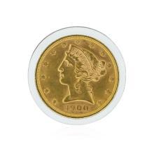 1900 $5 BU Liberty Head Half Eagle Gold Coin