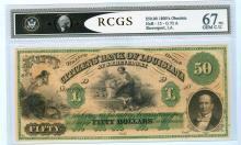 1800's Obsolete $50 Shreveport Louisiana Bank Note RCGS Gem 67 PQ