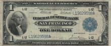 1918 Large $1 San Francisco Federal Reserve Bank National Currency Note