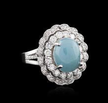 14KT White Gold 4.44ct Chrysoprase and Diamond Ring