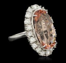 14KT White Gold 14.80ct GIA Cert Morganite and Diamond Ring