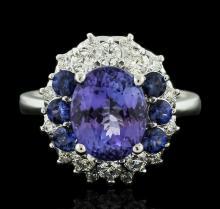 14KT White Gold 3.07ct Tanzanite, Sapphire and Diamond Ring