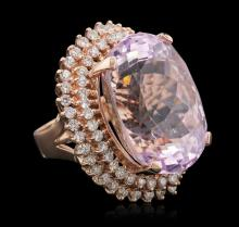 14KT Rose Gold 39.46ct GIA Certified Kunzite and Diamond Ring