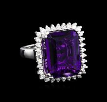 12.82ct Amethyst and Diamond Ring - 14KT White Gold