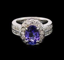 2.77ct Tanzanite and Diamond Ring - 14KT White Gold