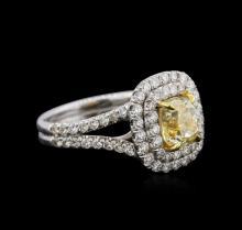14KT White Gold 2.78ctw Fancy Yellow Diamond Ring