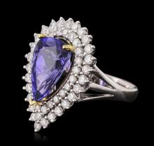 14KT Two-Tone Gold 4.13ct Tanzanite and Diamond Ring
