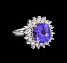 7.05ct Tanzanite and Diamond Ring - 14KT White Gold