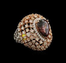 8.67ct Red Zircon and Diamond Ring - 14KT Two-Tone Gold