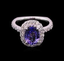 1.80ct Tanzanite and Diamond Ring - 14KT White Gold