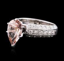 14KT White Gold 3.00ct Morganite and Diamond Ring