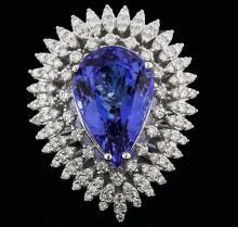 14KT White Gold 11.43ct Tanzanite and Diamond Ring