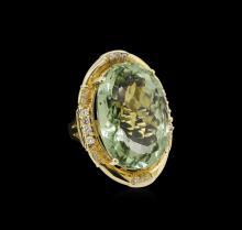 14KT Yellow Gold 27.45ct Green Quartz and Diamond Ring