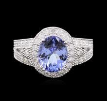 14KT White Gold 3.14ct Tanzanite and Diamond Ring