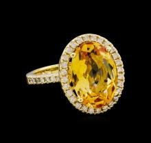4.80ct Citrine and Diamond Ring - 14KT Yellow Gold