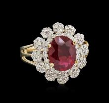 3.02ct Ruby and Diamond Ring - 14KT Yellow Gold