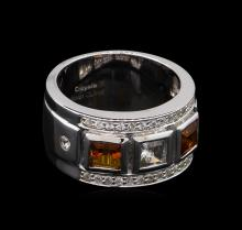 0.54ctw Citrine and White Sapphire Ring - .925 Silver