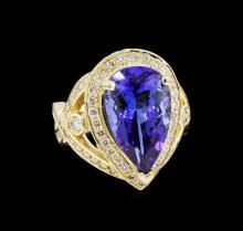14KT Yellow Gold 7.74ct GIA Cert Tanzanite and Diamond Ring