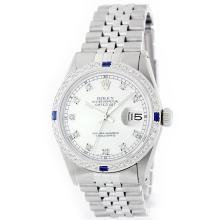 Rolex Stainless Steel 1.00ctw Diamond and Sapphire DateJust Men's Watch